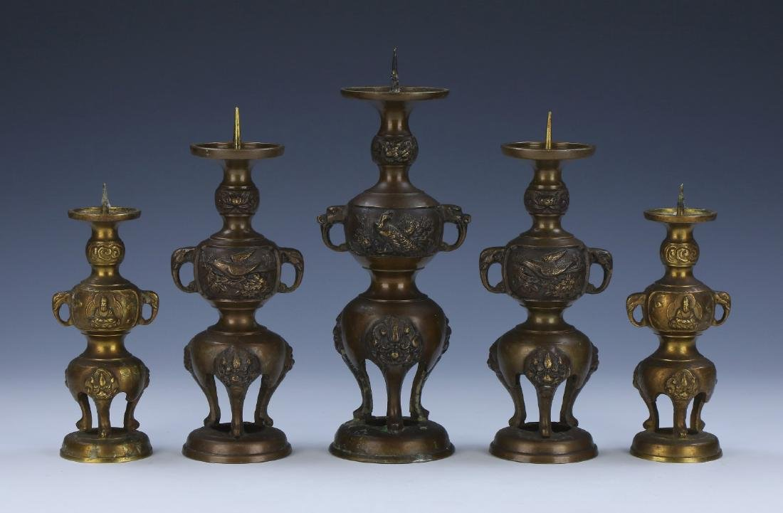 SET OF FIVE (5) JAPANESE ANTIQUE BRONZE CANDLE HOLDERS