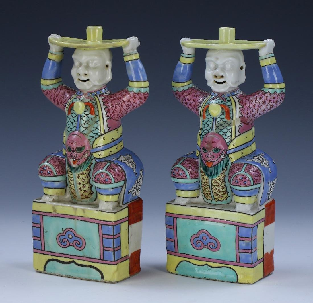 PAIR CHINESE ANTIQUE FAMILLE ROSE PORCELAIN CANDLE