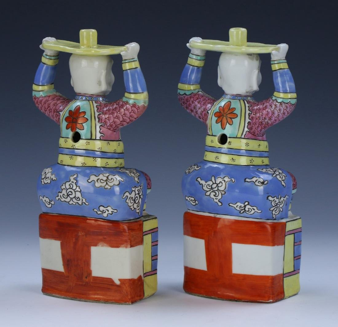 PAIR CHINESE ANTIQUE FAMILLE ROSE PORCELAIN CANDLE - 2