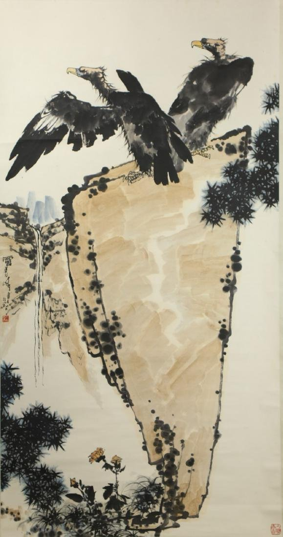 A CHINESE PAPER HANGING PAINTING SCROLL BY PAN,