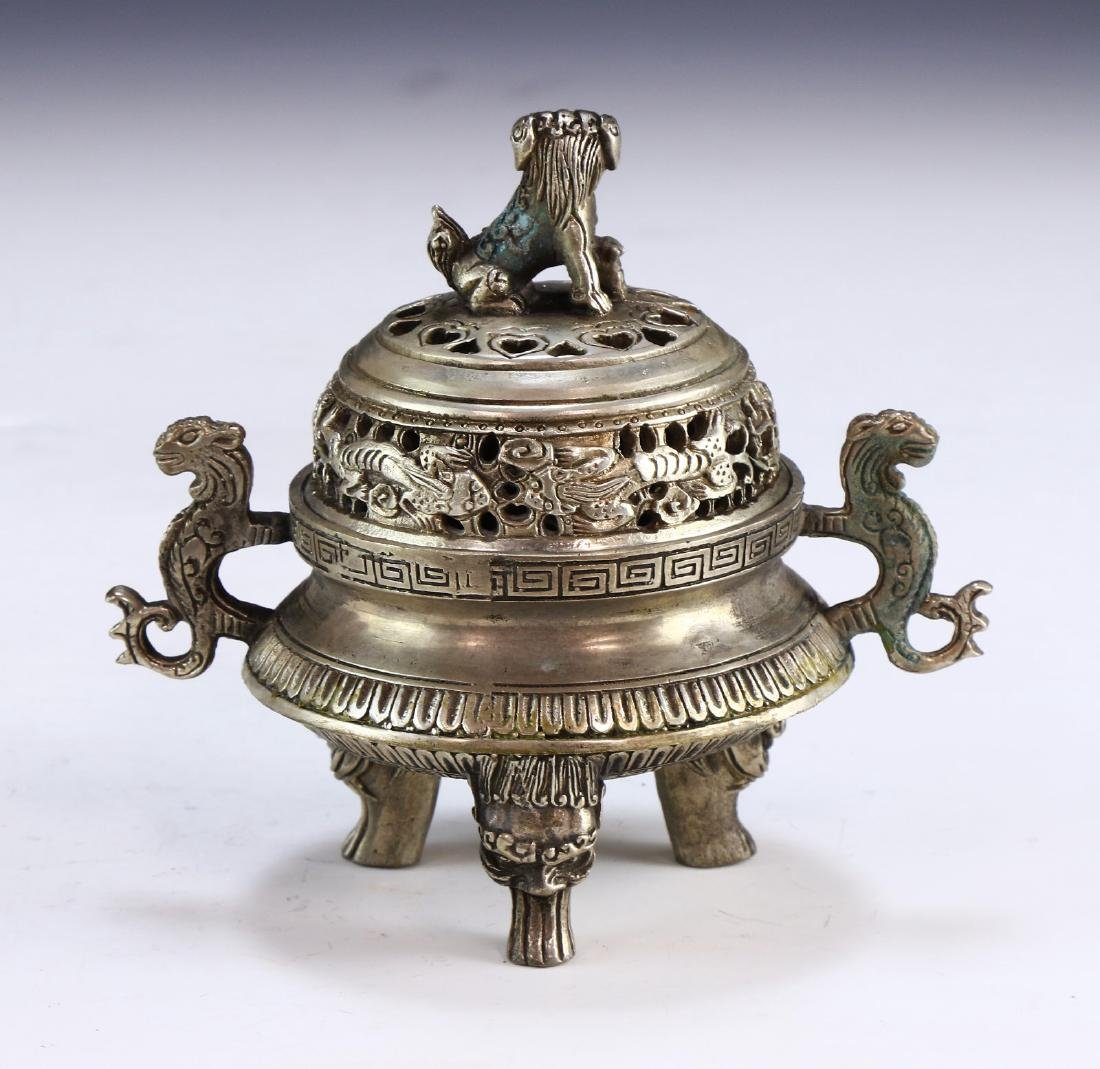 A CHINESE WHITE BRASS LIDDED TRIPOD CENSER - 2