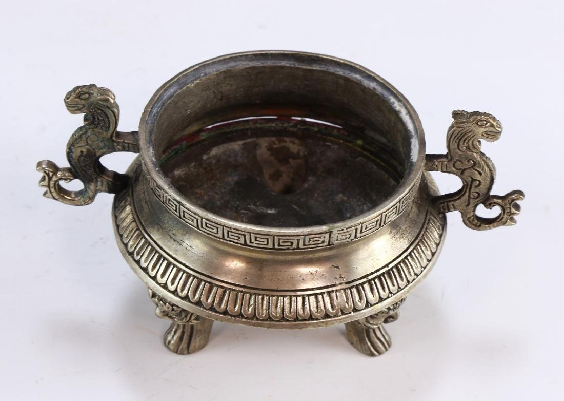 A CHINESE WHITE BRASS LIDDED TRIPOD CENSER - 3