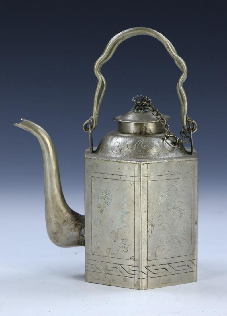 A CHINESE PEWTER SILVER TEAPOT