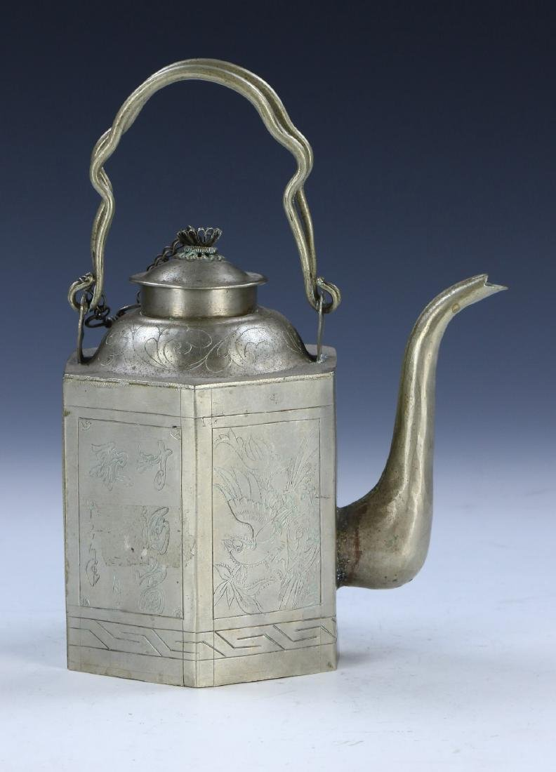 A CHINESE PEWTER SILVER TEAPOT - 2