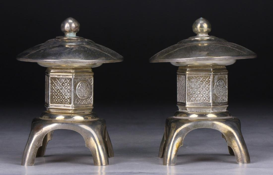 PAIR CHINESE SILVER SHAKERS