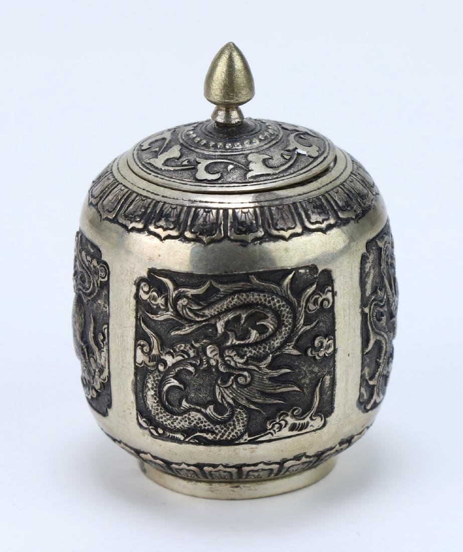 A CHINESE LIDDED SILVER CASE