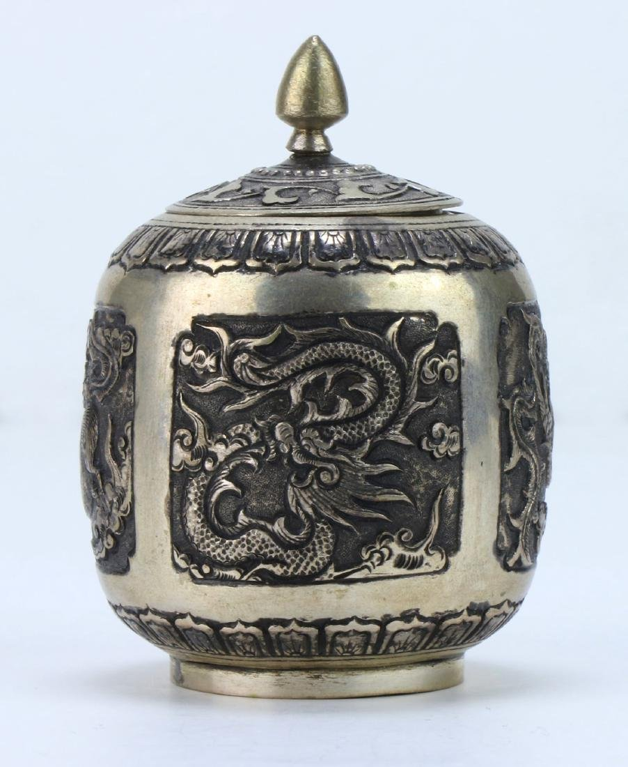 A CHINESE LIDDED SILVER CASE - 2