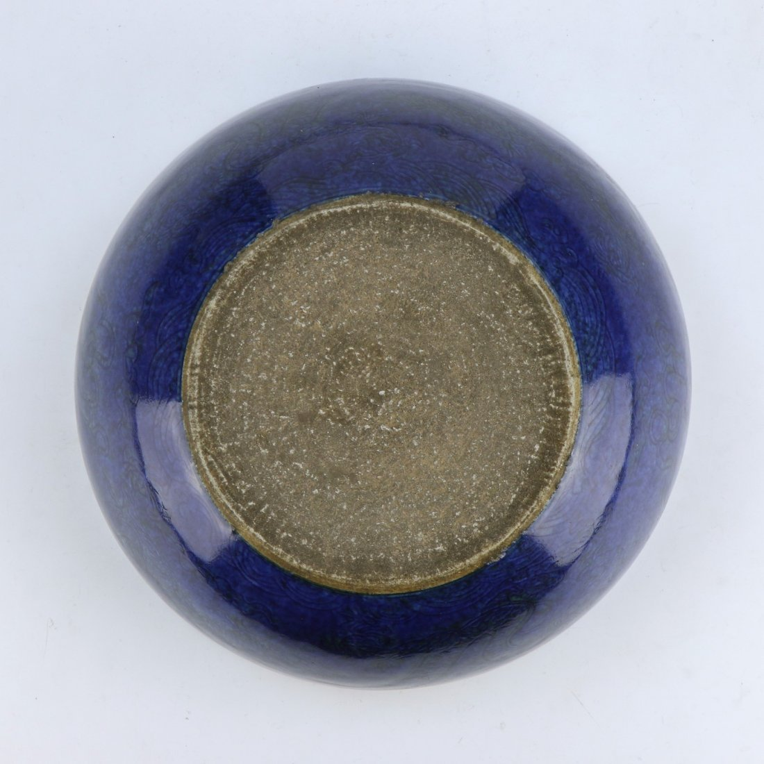 A CHINESE BLUE GLAZED PORCELAIN BOWL - 5