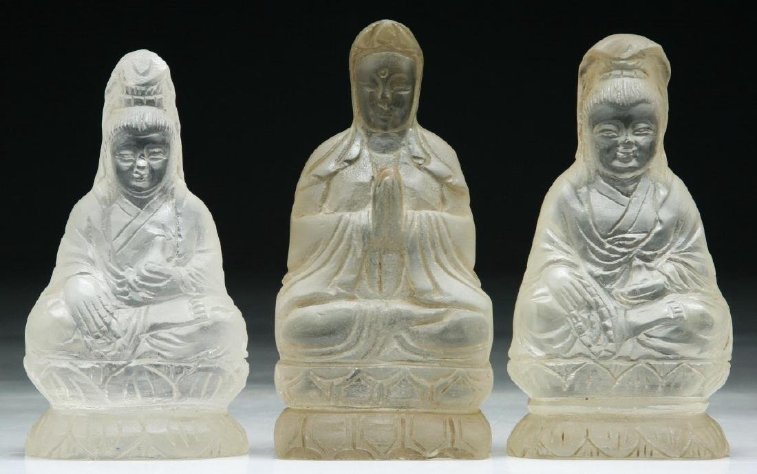 Three (3) Chinese Crystal Glass Guanyin