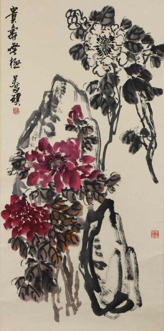 A CHINESE PAPER HANGING PAINTING SCROLL BY WU,