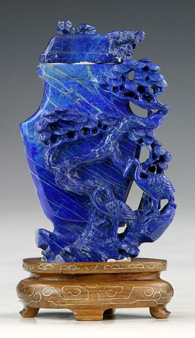 A Chinese Lapis Lazuli Carved Vase