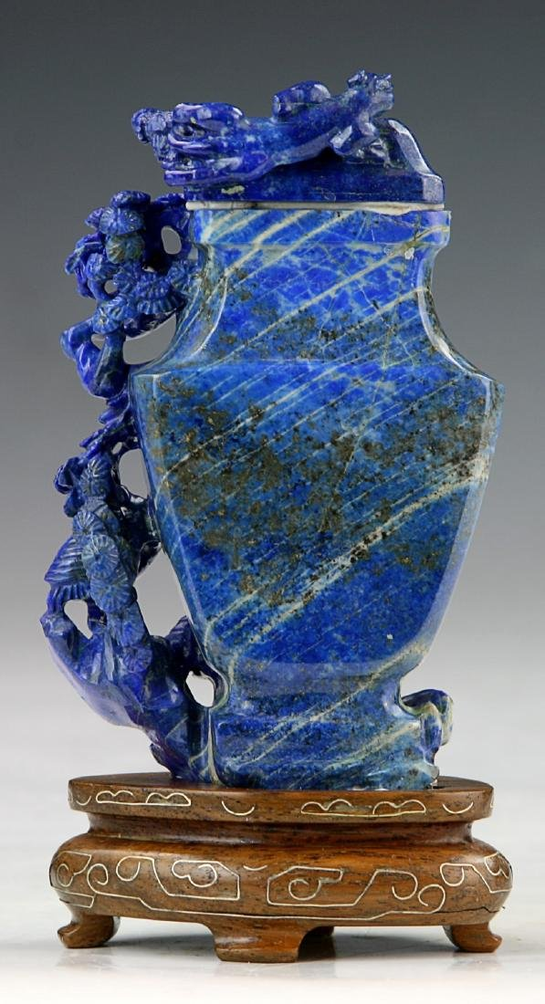 A Chinese Lapis Lazuli Carved Vase - 2