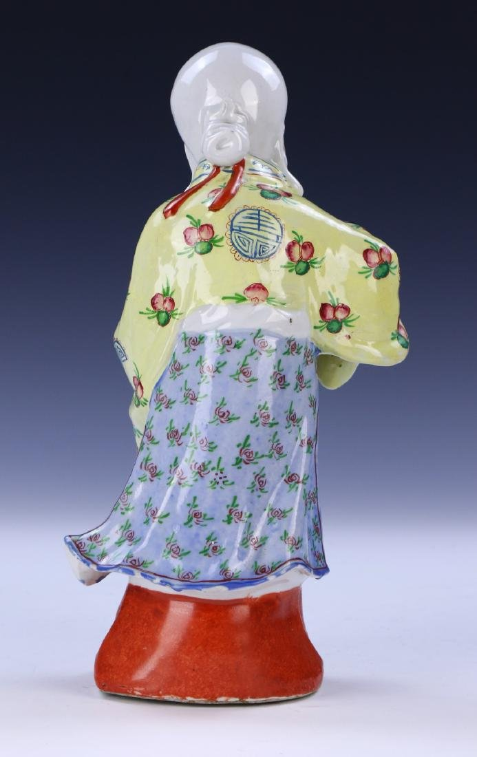 A Chinese Famille Rose Porcelain Shoulao Figure - 4