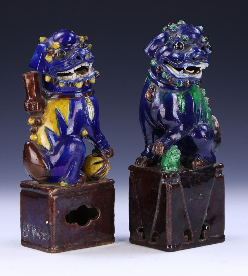 TWO (2) CHINESE PORCELAIN LION DOGS