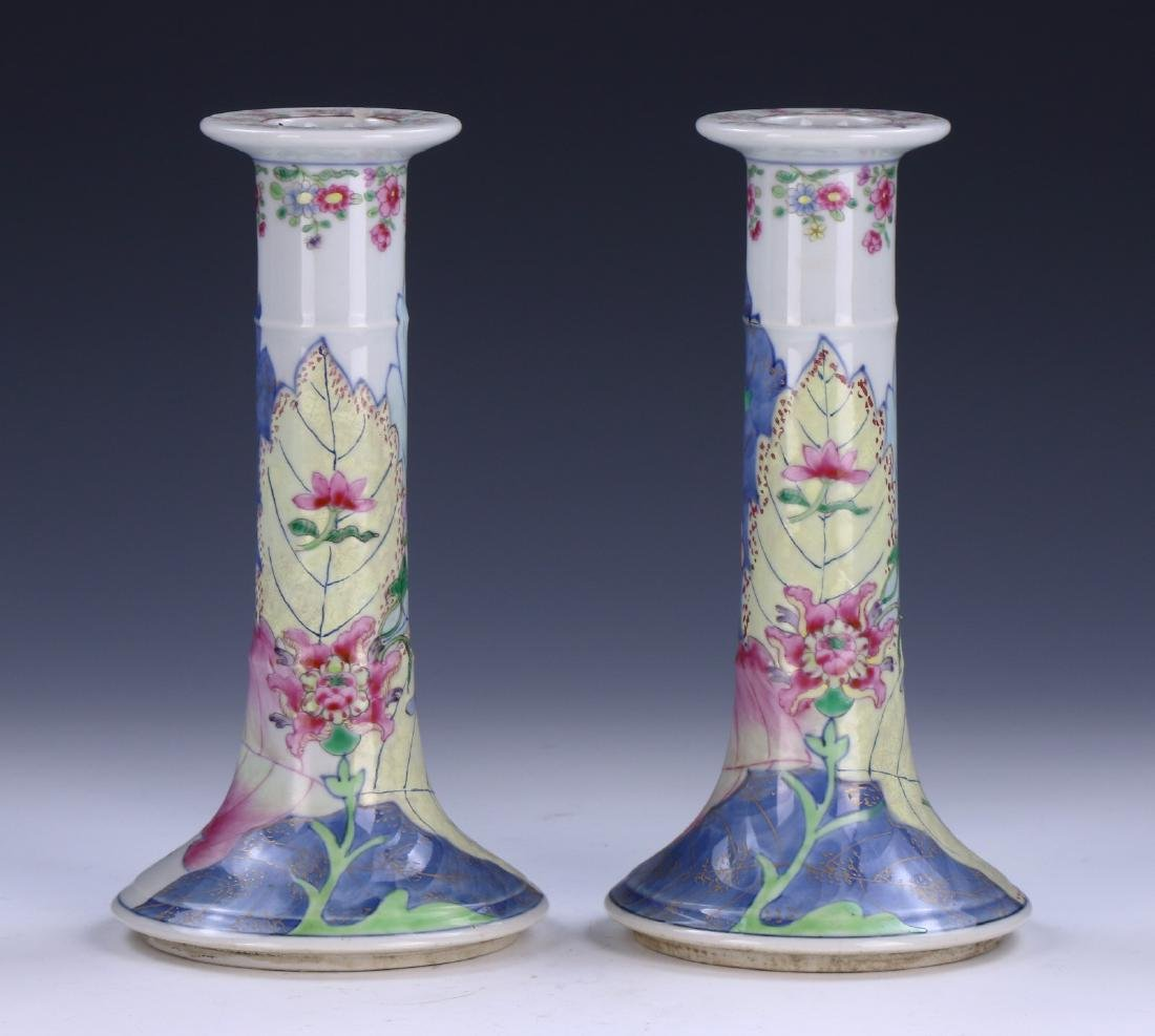 PAIR CHINESE FAMILLE ROSE PORCELAIN CANDLE HOLDERS