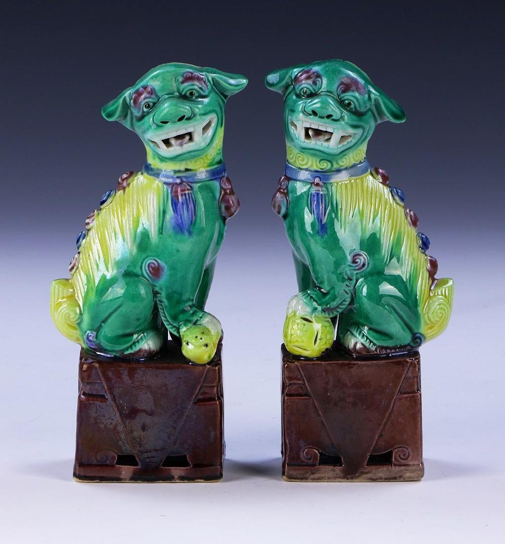 PAIR CHINESE FAMILLE ROSE PORCELAIN LIONS
