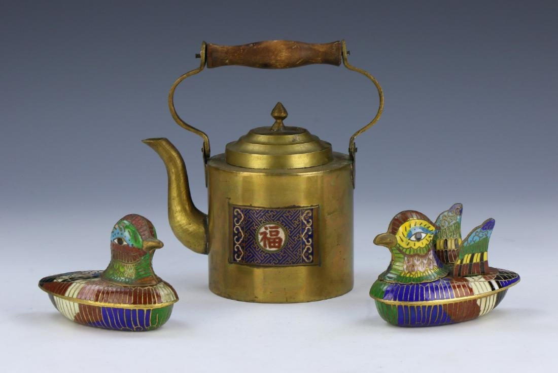 PAIR CHINESE CLOISONNE LIDDED CASES & BRASS TEAPOT
