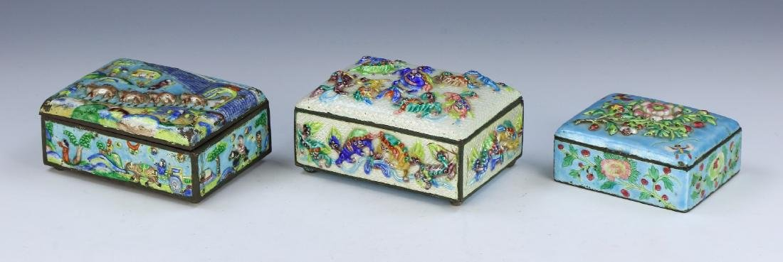 THREE (3) CHINESE CLOISONNE ON BRONZE TRINKET BOXES