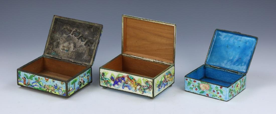THREE (3) CHINESE CLOISONNE ON BRONZE TRINKET BOXES - 2