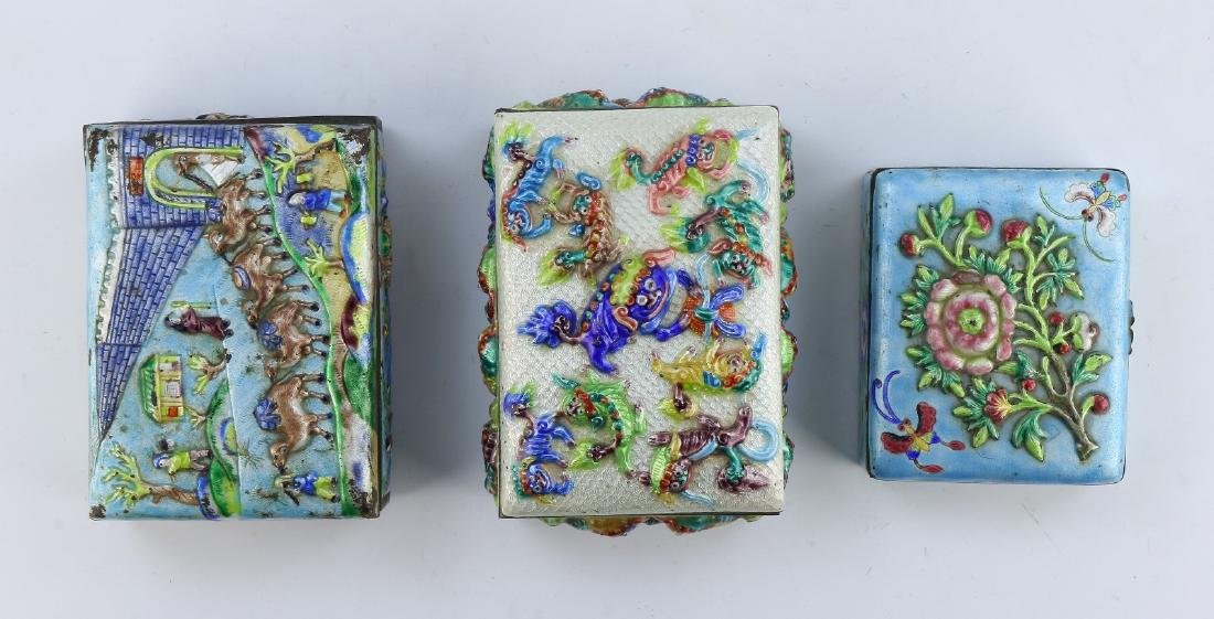 THREE (3) CHINESE CLOISONNE ON BRONZE TRINKET BOXES - 3