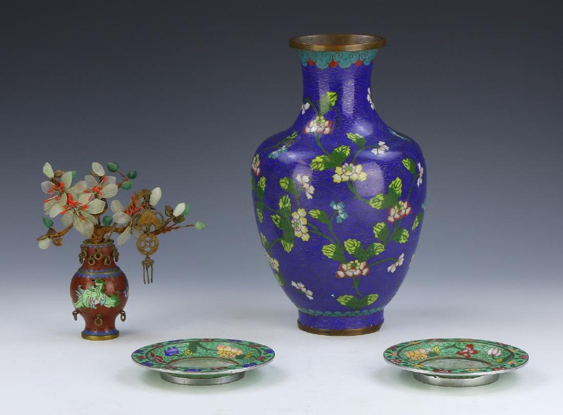 FOUR (4) CHINESE MIXED CLOISONNE AND JADE PLATES AND