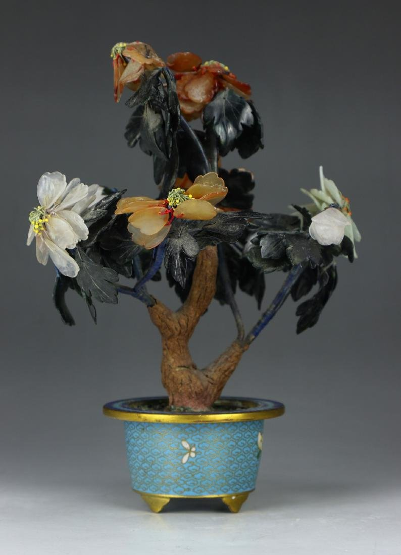 A CHINESE JADE AND GILT CLOISONNE ON BRONZE BONSAI - 2