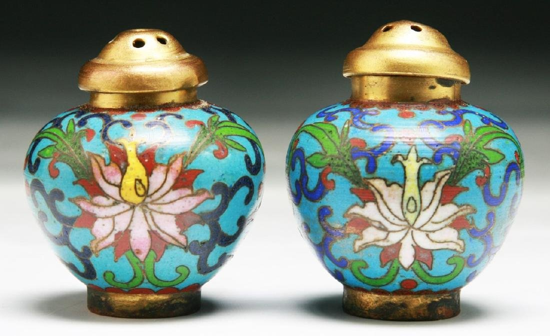 PAIR OF CHINESE CLOISONNE BRONZE SHAKERS