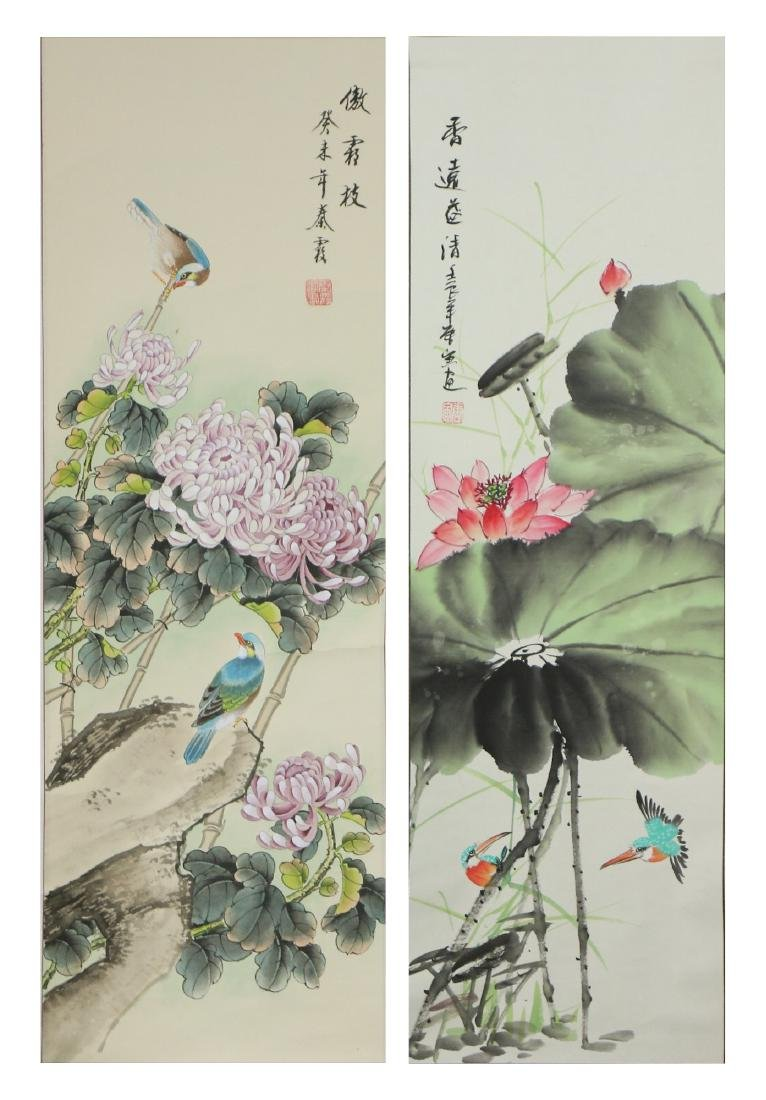 TWO (2) CHINESE PAPER PAINTING HANGING SCROLLS