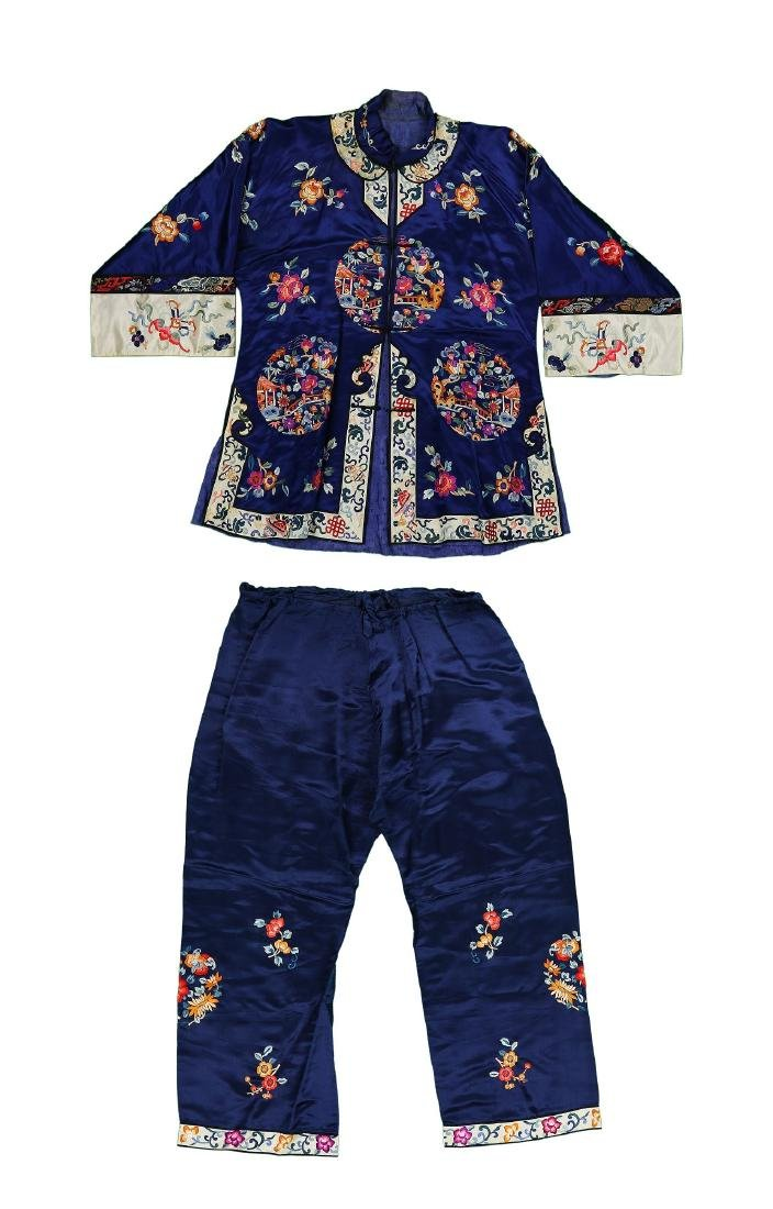 TWO (2) CHINESE EMBROIDERED SILK ROBE & PANT SET