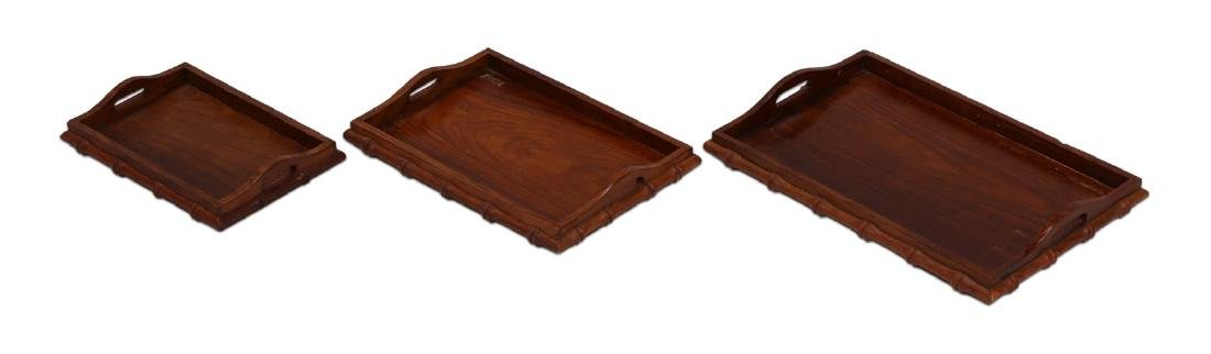 SET OF THREE (3) CHINESE WOOD CARVED TRAYS