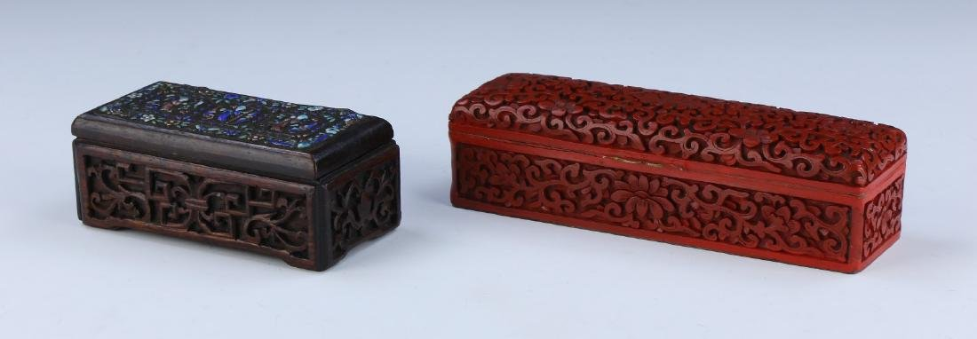 TWO (2) CHINESE WOOD AND LACQUER LIDDED CASES