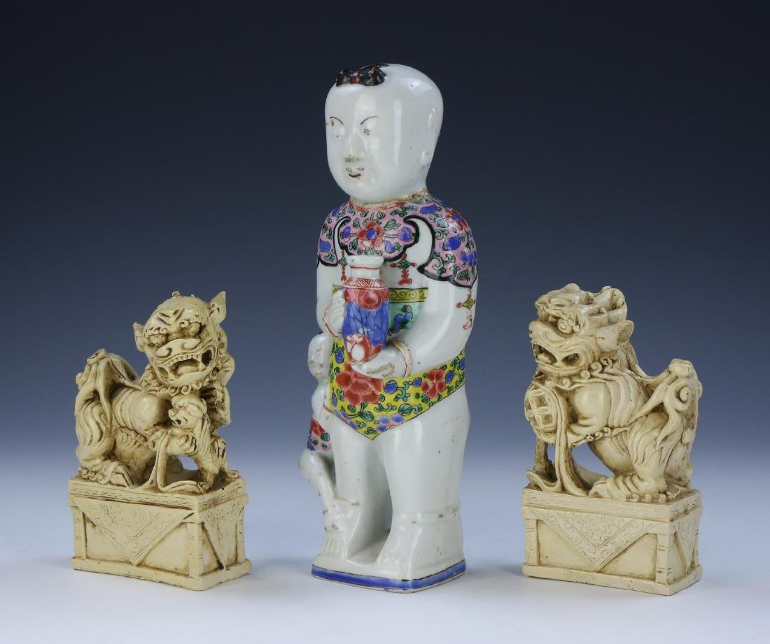 PAIR CHINESE FOO DOGS & FAMILLE ROSE PORCELAIN FIGURE