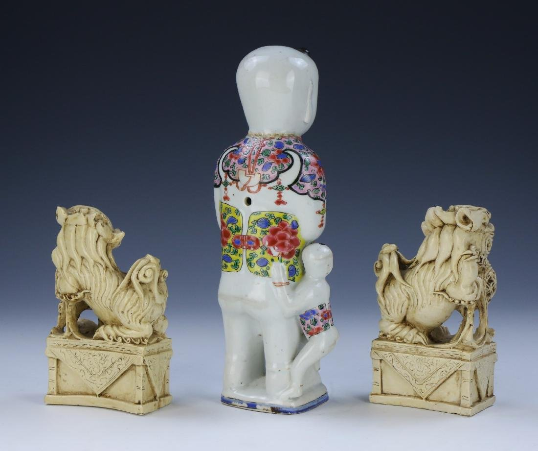 PAIR CHINESE FOO DOGS & FAMILLE ROSE PORCELAIN FIGURE - 2