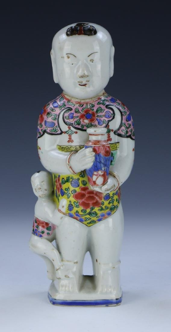 PAIR CHINESE FOO DOGS & FAMILLE ROSE PORCELAIN FIGURE - 3