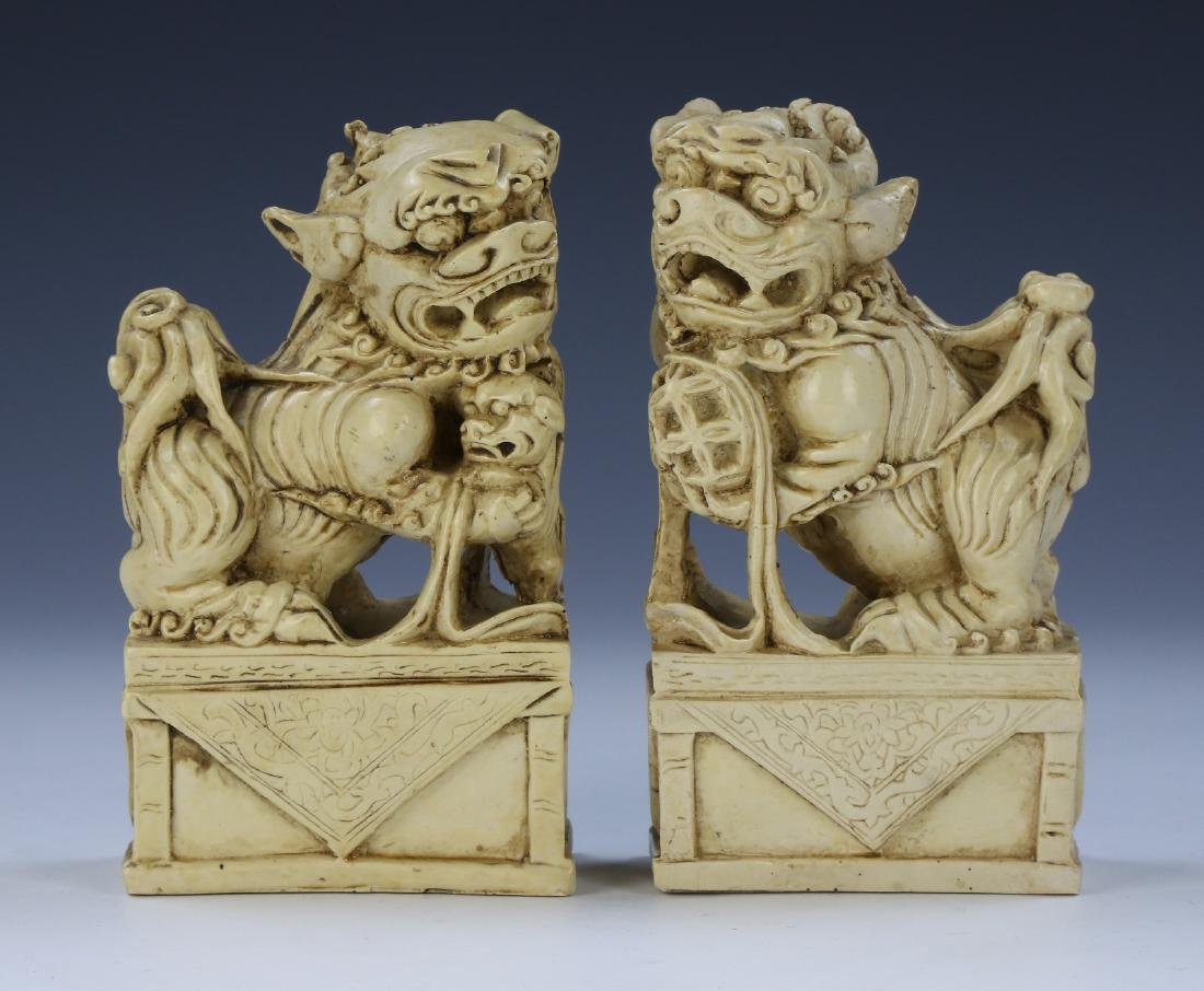 PAIR CHINESE FOO DOGS & FAMILLE ROSE PORCELAIN FIGURE - 4