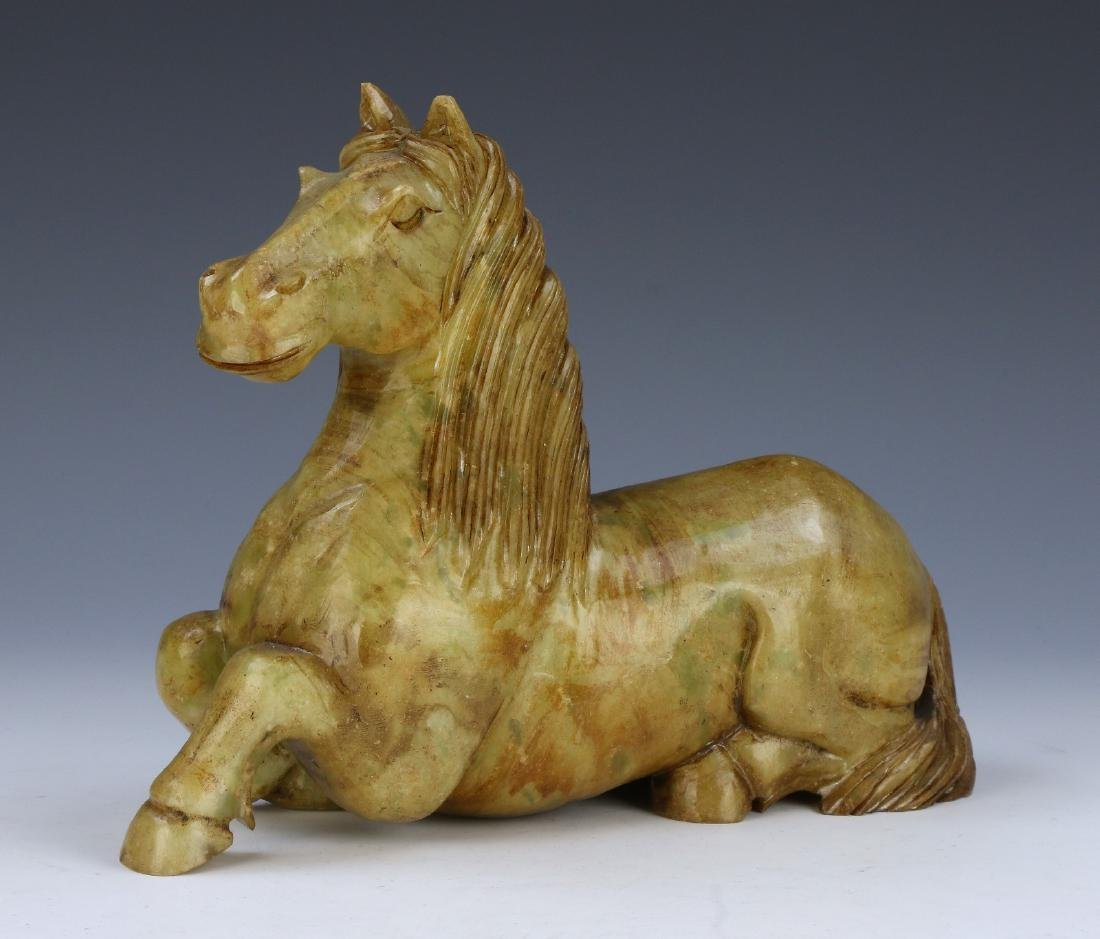 A BIG CHINESE JADE HORSE WITH WOOD STAND