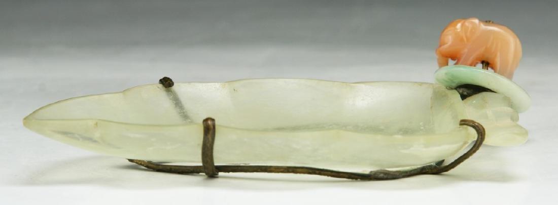 A Chinese Grayish Jade Brush Washer