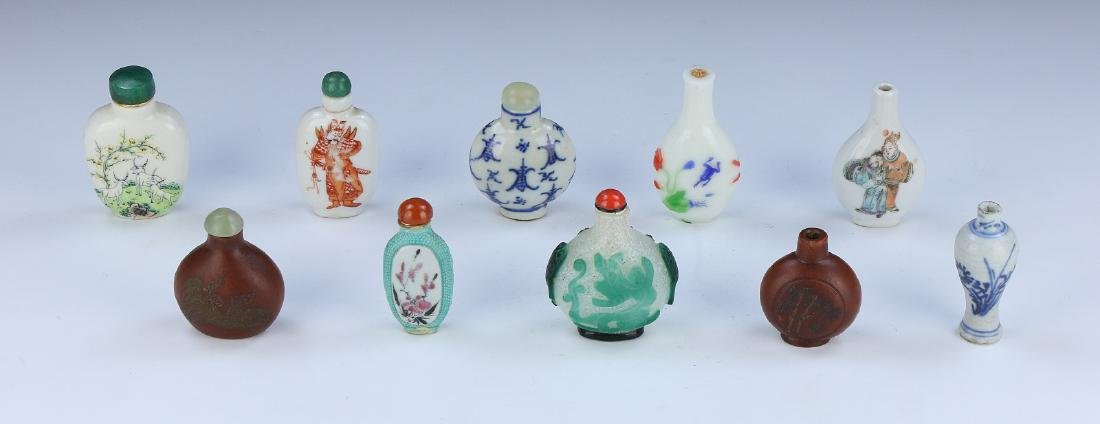 TEN (10) CHINESE MIXED MATERIAL SNUFF BOTTLES