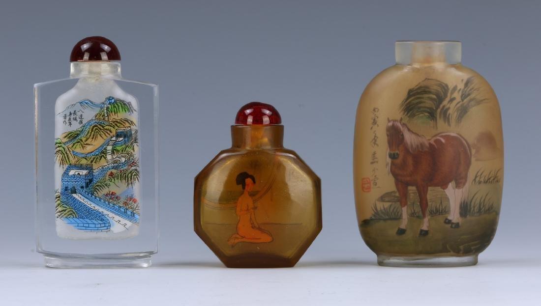 THREE (3) CHINESE INSIDE PAINTED GLASS SNUFF BOTTLES