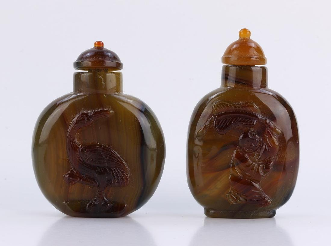 TWO (2) AGATE SNUFF BOTTLES #1