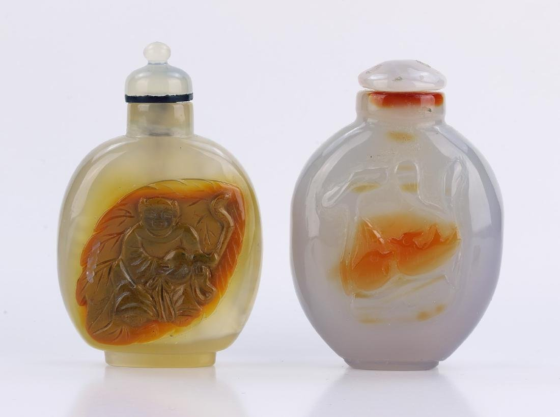 TWO (2) AGATE SNUFF BOTTLES #2