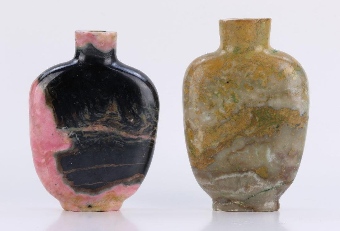 TWO (2) STONE SNUFF BOTTLES