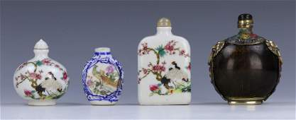 FOUR 4 CHINESE MIXED MATERIAL SNUFF BOTTLES
