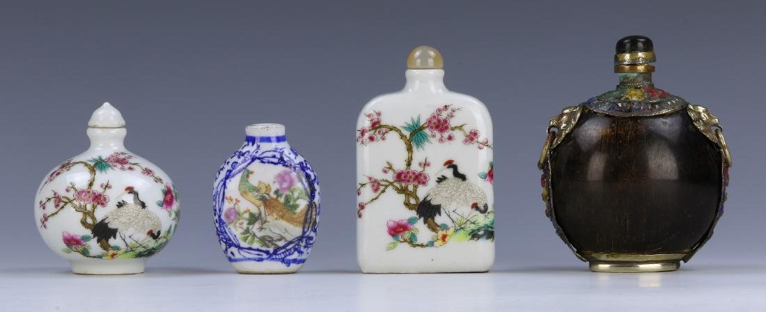 FOUR (4) CHINESE MIXED MATERIAL SNUFF BOTTLES
