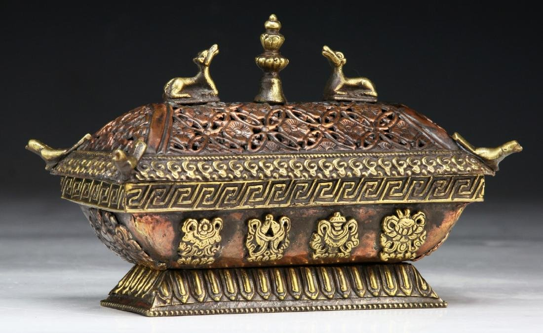 A TIBETAN LIDDED BRONZE INCENSE BURNER