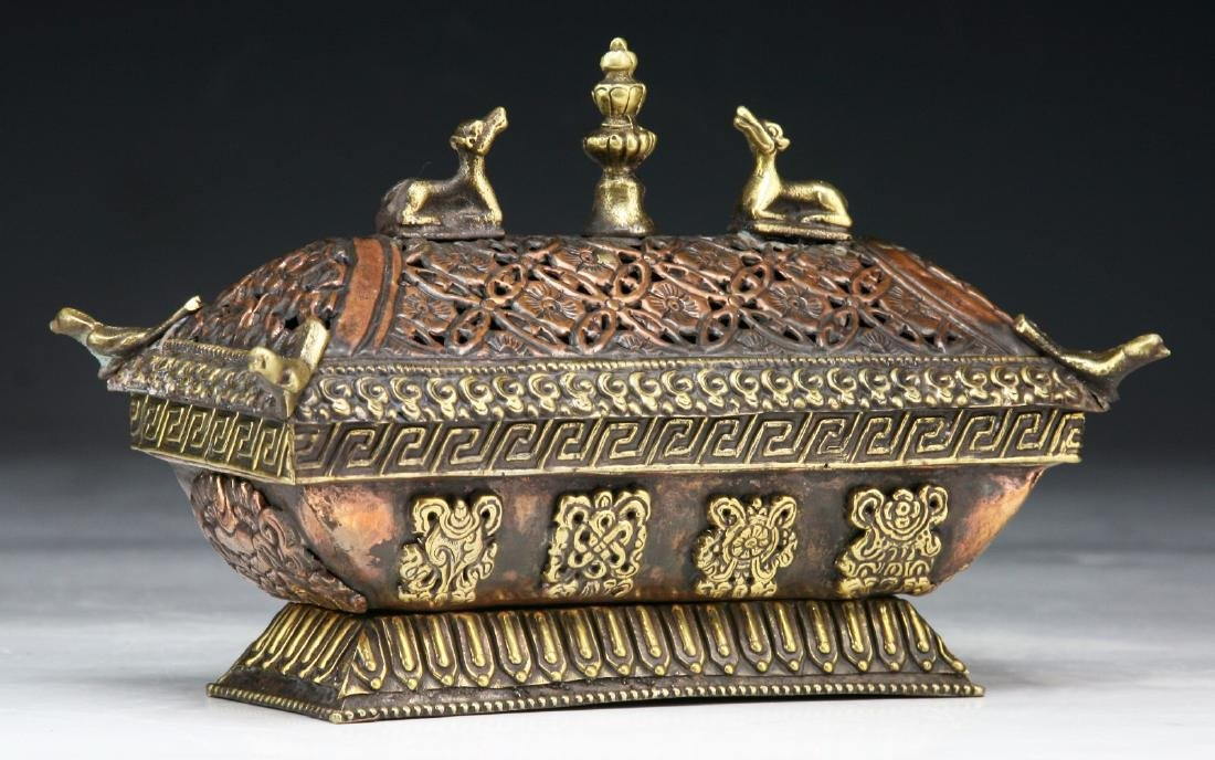 A TIBETAN LIDDED BRONZE INCENSE BURNER - 2