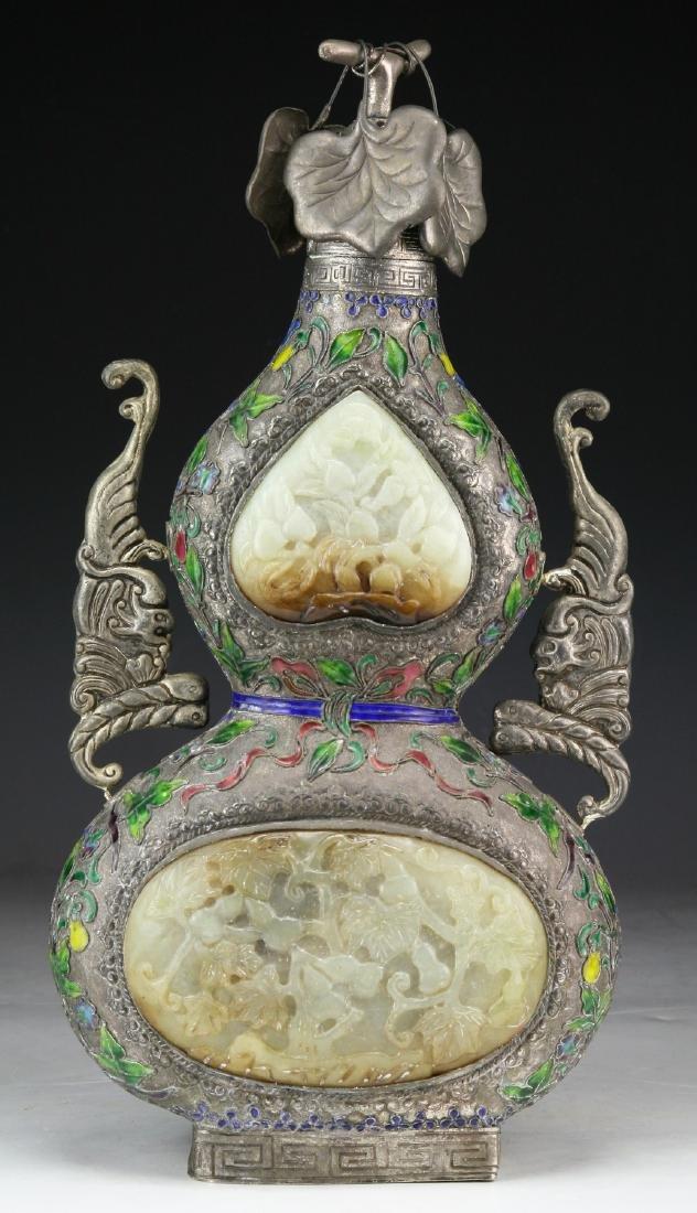 A Chinese Jade Inlaid Cloisonne Bronze Vase