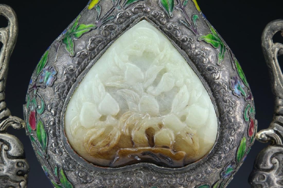 A Chinese Jade Inlaid Cloisonne Bronze Vase - 2