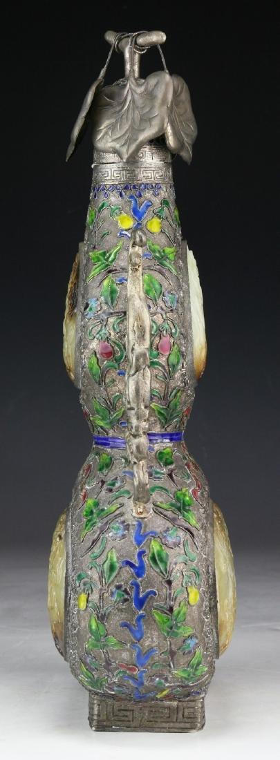 A Chinese Jade Inlaid Cloisonne Bronze Vase - 4