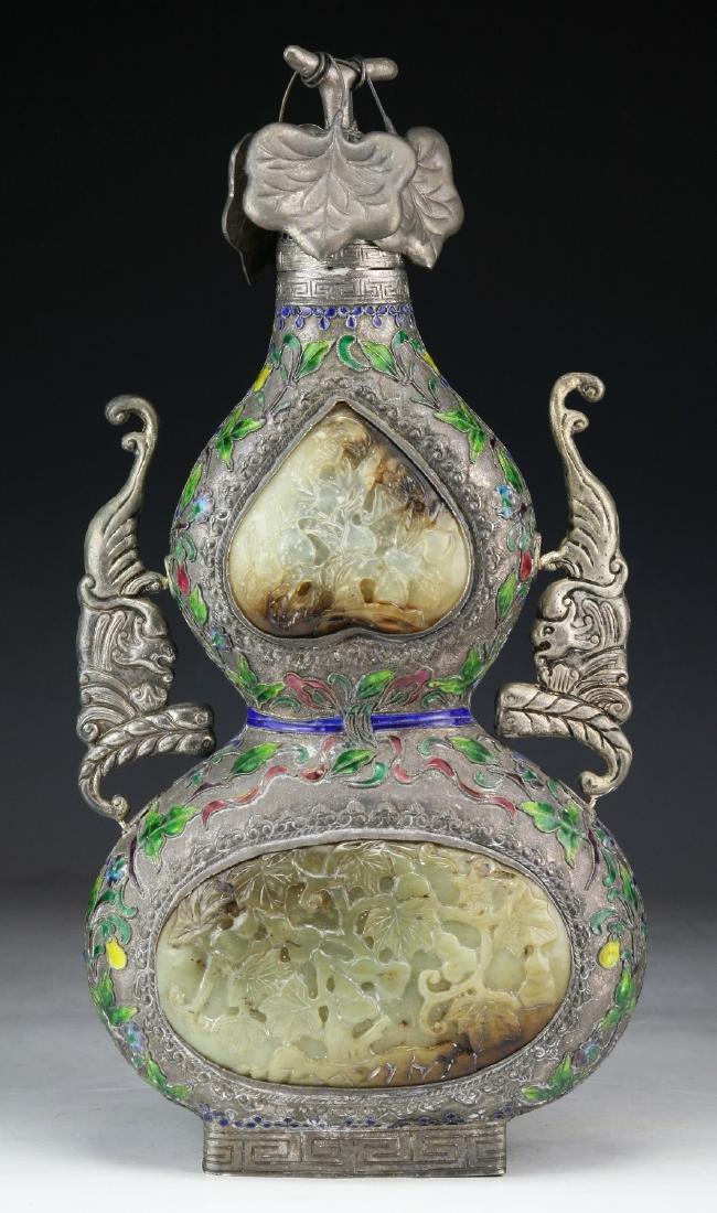 A Chinese Jade Inlaid Cloisonne Bronze Vase - 5